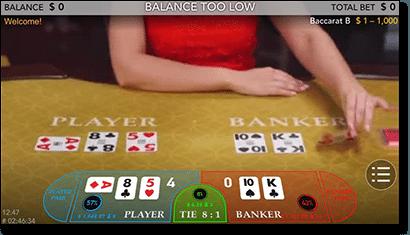 Mobile live dealer baccarat at Guts Casino